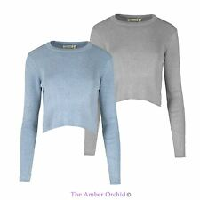 LADIES WOMENS RIB KNIT CROP RIBBED JUMPER KNITTED LONG SLEEVE TOP PULLOVER 10-16