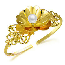 flower pearl hand bracelet Palm Cuff leaf crystal hand bracelet bangle R908