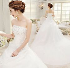 White lace bridal gown Strapless Sleeveless Wedding dress bridal/wedding gown