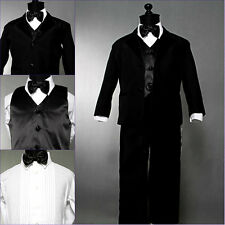 Well tailored Black boy wedding ring bearer tuxedo formal party suit all sizes