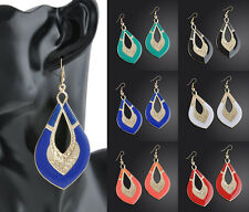 Plated Stylish Jewelry Women Oval Drop Dangle Earrings Fashion Enamel Ear Hook