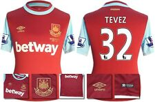 *15 / 16 - UMBRO ; WEST HAM UTD HOME SHIRT SS + PATCHES / TEVEZ 32 = SIZE*