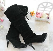 NEW Womens High Heel Knee High Boots Sexy Front Lace Up Shoes US All Size B803