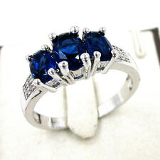 Womens 18K White Gold GP Blue Sapphire/Swarovski Crystal Wedding Ring Size 7-9