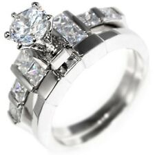 2.85CTW BRILLIANT CUT STONE - ENGAGEMENT - WEDDING RING SET (2 rings) 6,8,9,10