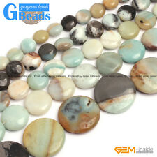 "Natural Colorful Amazonite Gemstone Coin Flat Beads Free Shipping 15"" 12mm 14mm"