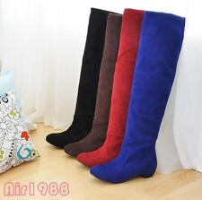 New Women's Fashion Shoes Stretchy Faux Suede Low Heel Knee High Boots US Size
