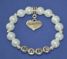 Flower Girl Personalized Family Wedding Charm Bracelet Gift Any Name US Seller