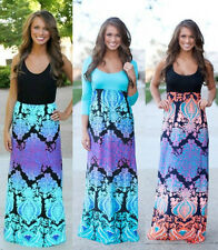 Boho Womens Print Spliced Maxi Sleeveless Summer Floral Beach Long Casual Dress