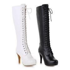 2015 Winter Women's Leather Shoes High Heels Lace Up Zip Knee Boots US All Size