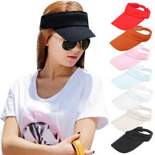 Womens Adjustable Visor Sun Plain Hat Sports Cap Colors Golf Tennis Beach Hat