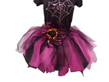 Halloween Neon Tutu Skirt 80s Fancy Dress Costume Spider Rhinestone T Shirt Set