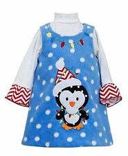 BONNIE JEAN® Girls' 4, 5 Blue Penguin Dot Fleece Holiday Jumper Dress Set *NWT*