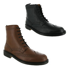 BLACK OR TAN ALL LEATHER SOLES BROGUE DERBY GOODYEAR WELTED BOOTS MENS UK 6-12