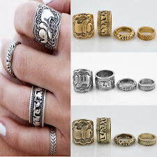 4PCS Boho Style Retro Elephant Finger Rings Set Punk Vintage Womens Ring JT13