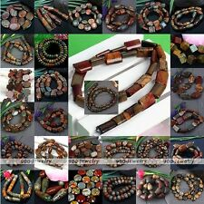 1 Strand Gemstone Picasso Jasper Loose Beads Oval Round Coin Jewelry Finding DIY