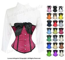 Full Steel Boned Heavy Lacing Satin Underbust Burlesque Shaper Corset #8037-SA