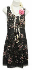 New Retro 1920's Black Chiffon Floral Downton Flapper Charleston Tunic Dress