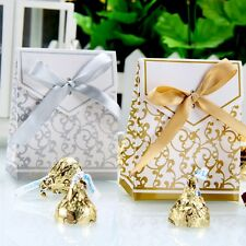 50/100pcs Sliver/Gold Bridal Wedding Party Favor Gift Ribbons Candy Boxes Bags