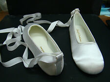 White Satin Ballet Slippers with Ribbons