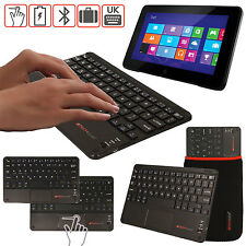 Slim Wireless Bluetooth UK Keyboard + Touchpad for Windows OS Tablet Phones PC