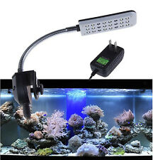 24 LED Aquarium Fish Tank Clamp Clip on Light with Flexible Arm White Blue Lamp