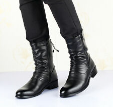 Fashion Men Pointy Toe Ruched Side Zip Strap British Style Mid Calf Riding Boots