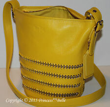 COACH Mini Duffle Whiplash Leather Bucket Crossbody Bag Shoulder Tote Yellow