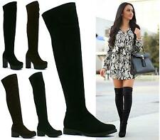 LADIES WOMENS THIGH HIGH OVER THE KNEE CHUNKY PLATFORM HEEL STRETCH BOOTS SIZE
