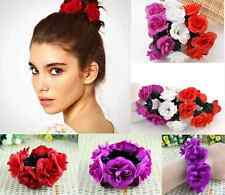 Floral Flower Bun Head Knot Garland Bracelet Hair Top Scrunchie Band Bridal  hs