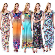Plus Size US 8-32 Long Maxi Dress Women Ladies Stretch Summer Party Sundress