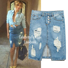 sk94 Celebrity Style High Waisted Retro Ripped Front Slit Denim Midi Skirt