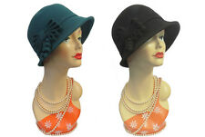 New Vintage 1920's 30s 40s style Ornate Felt Fedora Cloche  Gatsby Downton Hat