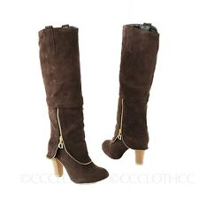 Ladies Fashion Womens Suede Winter Block heel Booties Knee Length Boots Size
