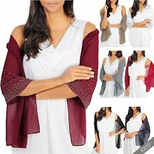 Lightweight Gem Diamante Embellished Scarf Stole Wrap Shawl Spring Summer US