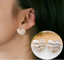 Fashion Women Heart Ear Stud Lady Crystal Rhinestone Earrings Jewelry Gift New V