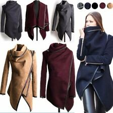 2016 Hot Women Zipper PU Warm Long Coat Jacket Trench Windbreaker Parka Outwear