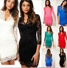 Women Lace Dress Scalloped V-Neck Ladies Sexy Slim 3/4 Sleeve Cocktail Dress SS