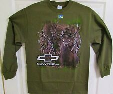 CHEVY TRUCKS TRUETIMBER DEER MILITARY GREEN & CAMO LONG SLEEVE TEE SHIRT