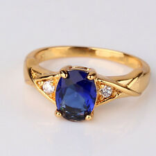 24k yellow gold filled oval cut bule sapphire Solitaire with Accent ring Sz5-Sz9