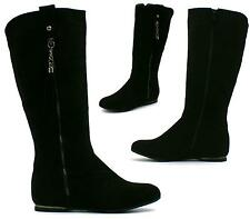 Women's Flat Riding Mid Calf Suede Boots Zip Up Winter Ladies Shoes Size