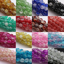 Lots Glass Mixed Round Crackle Crystal Charm Bead Jewelry Findings 4/6/8/10/12mm