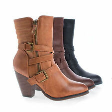 Outcast02 Western Cowgirl Stacked Faux Wooden Block Heel Ankle Boots