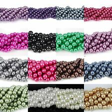 Wholesale 20-100Pcs Round Glass Pearl Loose Spacer Bead Charm Jewelry Findings