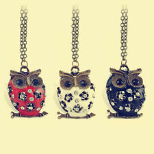 Retro Charm Women Crystal Rhinestone Owl Pendant long Necklace Sweater Chain