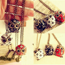 3 Color Retro Crystal Rhinestone Owl Pendant long Necklace Charm Sweater Chain