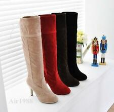 Womens Suede Platform Ladies Sexy Knee High Heels Boots Lace Ups Shoes Air1988