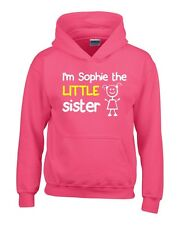 Personalised I'm The Little Sister Girls Hoodie 3-14 Yrs Funny Custom Present