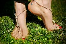 Clear AB crystal & BUTTERFLY Barefoot Sandals bridal foot jewellery silver gold
