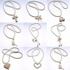 Fashion Pearl Beads Chain Cross Heart Flower Pendant Sweater Long Chain Necklace